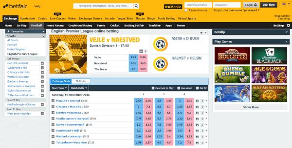 Football gambling betfair