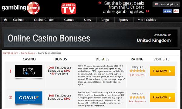 Gambling com bonuses